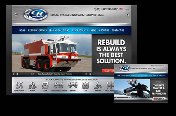 Crash Rescue heavy equipment website design