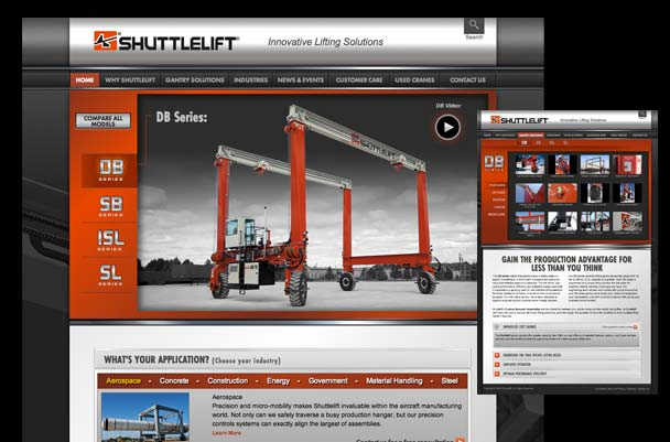 Website for Shuttlelift mobile gantry cranes. Heavy equipment.