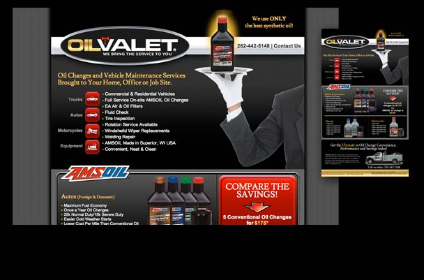 On location oil change service website design