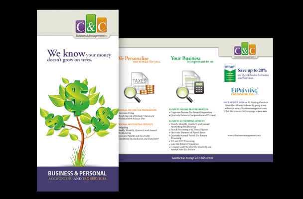 Tri-fold brochure for tax preparation business