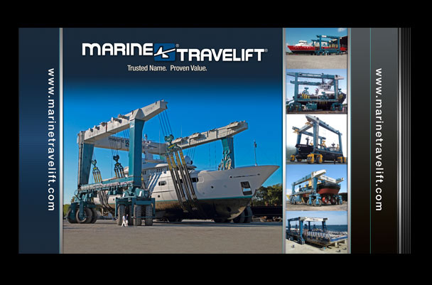Pop-up display graphic design for Marine Travelift