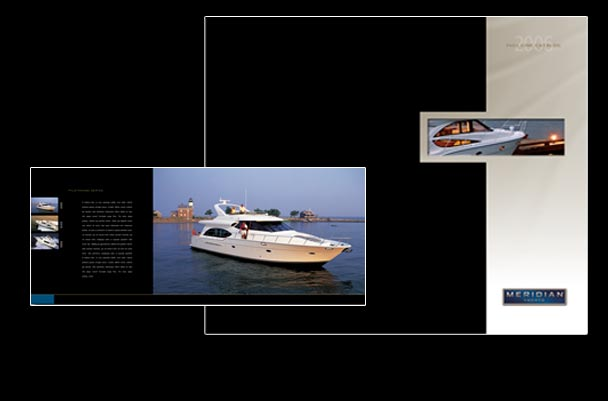 Meridian yachts full line catalog graphic design