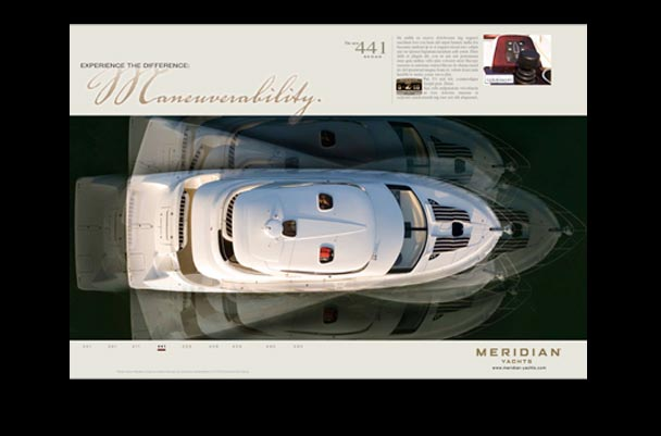 Meridian yachts spread print ad for magazine