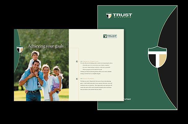 Financial advisor services brochure from graphic design studio